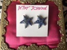 Betsey Johnson Glitter Reef Blue Crystal AB Starfish Star Fish Sea Stud Earrings