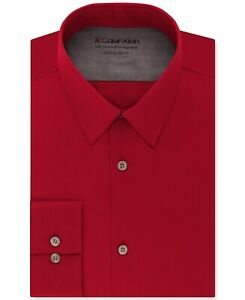 Calvin Klein Men Dress Shirt Red Small S 14-14 1/2 Extra Slim Stretch $79 227