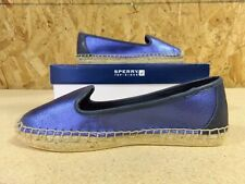 Sperry Top-Sider Women's Coco Metallic Espadrille Blue Slip On Slides Shoes