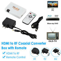 HDMI To RF Coaxial Converter AV Adapter Box & Remote Control - Free Shipping NEW
