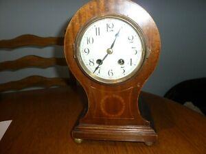 VINTAGE  MANTLE CLOCK MAHOGANY BALLOON SHAPE  SPARES OR REPAIR