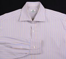 Borrelli Napoli ITALY Blue Brown Striped Cotton Button Down Dress Shirt 15.75