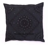 "24"" Black Mirror Embroidered Decorative Pillow Case Cushion Throw Cover Bohemian"