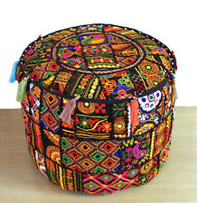"22"" Vintage Black Handmade Round Floor Ottoman Pouf Cover Indian Footstool Throw"