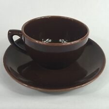 Vintage Cup and Saucer Bauer Pottery Monterey Moderne Brown California Pottery