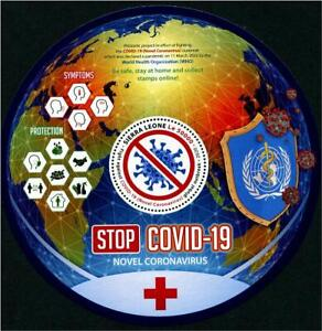 SIERRA LEONE 2020 FIGHT VIRUS 19 PANDEMIC SOUVENIR SHEET OF 1 STAMP IN MINT MNH