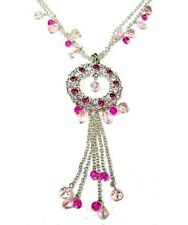 Silver Pink Glass Bead Crystal Necklace Pendant Chain Women Dress Vintage Gift