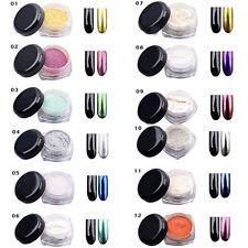 Set 12 Couleur Miroir Poudre Pigment Ongle Paillette Chromé Argent Doré Nail Art