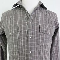 WRANGLER LONG SLEEVE GRAY PLAID PEARL SNAP BUTTON UP WESTERN SHIRT MENS SZ S