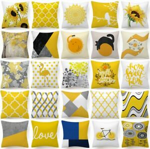 "Cushion COVER Yellow White Soft Decorative Gray Sofa Throw Pillow Case 18x18"" US"