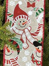 """2.5"""" Christmas Snowman Wired Ribbon By The Yard"""