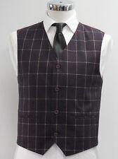 Men's Burgundy check waistcoat (39').. sample 2948