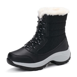 Womens Snow Boots Waterproof Wide Calf Winter Warm High-top Girl Fur Lined Shoes