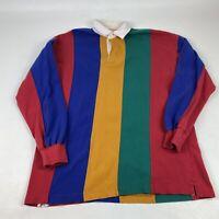 Vintage 90s St Johns Bay Sport Rugby Polo Shirt Men's Large Color Block Retro