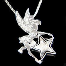 w Swarovski Crystal Tinkerbell Star Fairy Tink ANGEL Wing charm Necklace Jewelry