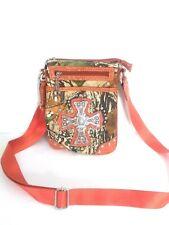 Ye'sir Mossy Oak camo Rhinestone Crossbody Handbag Shoulder Bag Purse Orange EUC