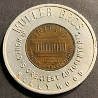 ENCASED Autocenter 1960-D Lincoln Cent Lucky Penny Hollywood Muller Bros.