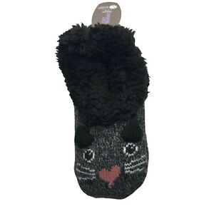 Secret Treasures Women's Faux Fur Critter Slipper Sock Black Cat Size 4-10 New