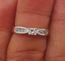 STUNNING 10K WG ROUND DIAMOND ENGAGEMENT RING .16 tcw SZ 5.5  E15345  2.23 grams