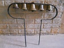 Rustic wrought-iron 5-bell 'swinger' sleigh bells for horse collar