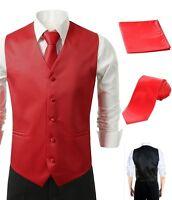 3Pcs Vest Tie Hankie Fashion Men's Formal Dress Suit Slim Tuxedo Waistcoat Red