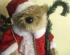 "*International Bazaar*Standing 25"" Christmas Old St. Nick Bear w/Staff & Bag"