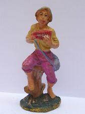 PRESEPIO PRESEPE vecchia statuina uomo seduto che suona suonatore