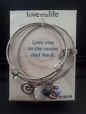 Love this Life Set of 3 Stainless Steel Expandable Charm Bangles