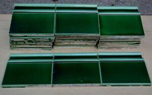 26 ANTIQUE ART NOUVEAU PERIOD MAJOLICA FLOOR ENDING TILE - GREEN c1900