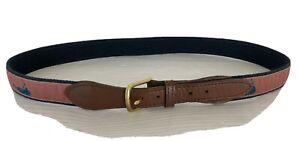 Men's Size 38 Blue Canvas & Nantucket Island Ribbon~Leather Brass Buckle Belt