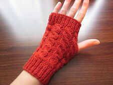 Hand Knitted Fingerless Gloves, 50% Wool, 50% Acrylic