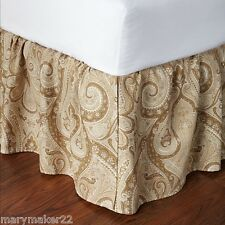 Nip $220 Ralph Lauren King Bedskirt Desert Spa Paisley Tan Cream 100% Cotton
