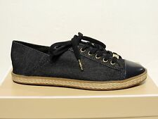 New Michael kors Kristy canvas denim slide sneakers round closed leather toe