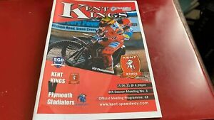 KENT KINGS V PLYMOUTH GLADIATORS---SPEEDWAY PROGRAMME--15TH JUNE 2021