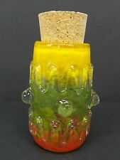 Red Yellow Green Glass Jar Hand Blown Collectible Trinket Container Jug