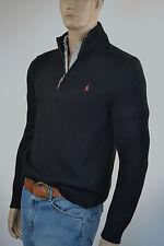 Ralph Lauren High-Twist Cotton Black Half-Zip Sweater/Red Pony -NWT