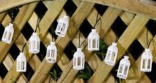 10PC WHITE SOLAR POWERED LANTERN STRING LIGHTS FOR GARDEN PATIO SHABBY CHIC