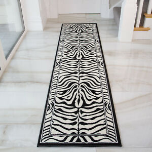Black Ivory Zebra Animal Print Hall Runners Soft Long Narrow Hallway Runner Rugs