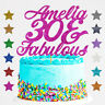 Personalised 30 and Fabulous Birthday Glitter Cake Topper Any Name Any Age 40 50