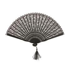 Black Folding Hand Fan Lace Spanish Gothic Party Favor Fancy Dress