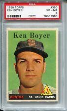 1958 Topps #350 Ken Boyer PSA 8 NM-MT St. Louis Cardinals