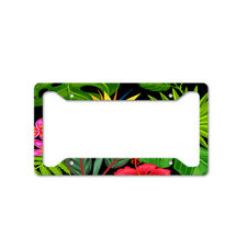 Tropical Flowers And Palm Tree Leaves Car License Plate Frame Tag Holder 4 Hole