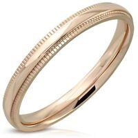 Rose Gold PVD Half Round Wedding Ring Surgical Steel Comfort Fit Select Size