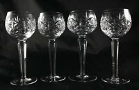 Four Stunning Vintage tall Lead Crystal glasses hock wine champagne