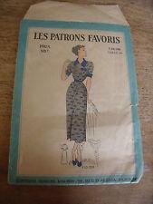 "ANCIEN PATRON ""  PATRONS FAVORIS ROBE MANCHE A REVERS  ANNEE 1940 T 44"