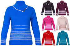 Button Waist Length Striped Jumpers & Cardigans for Women