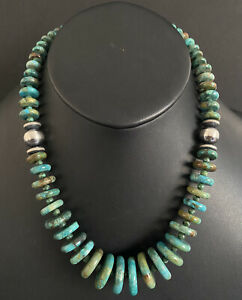 Sterling Silver Graduated Turquoise Bead Necklace. 18 inch