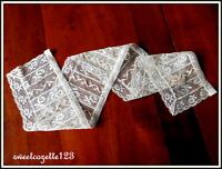 Antique FRENCH TAMBOUR Lace Finished Complete LC-142 ECRU NICE!~