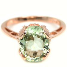 NATURAL GREEN AMETHYST 11X9 MM. OVAL STERLING 925 SILVER SOLITAIRE RING SIZE 7