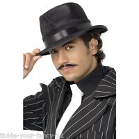 Men's 1920's Gangster Indestructible Fedora Hat Black Fancy Dress Al Capone Stag